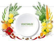 Овощи плоского положения свежие на белой предпосылке таблицы, здоровой концепции еды Стоковое Фото