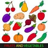 овощи плодоовощей Установленные плоские изображения вектора Стоковое фото RF