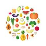 Овощи, плодоовощи и чокнутая еда vector предпосылка круга Плоский дизайн иллюстрация штока