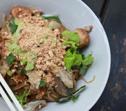овощи риса лапшей мяса широко стоковое изображение