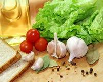 Овощи, специи и хлеб Стоковые Изображения RF