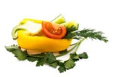 Овощи, томаты, огурцы, перцы и петрушка Стоковые Фотографии RF