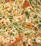 овощи ужина спагетти шримсов Стоковые Фото