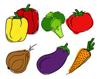 Овощи установленные на белую предпосылку Стоковое фото RF