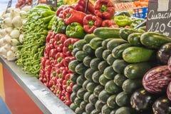 Овощи, центральный рынок города Малаги, Испании Стоковые Фотографии RF
