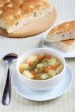 Овощной суп и Focaccia Стоковое фото RF