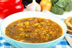 Овощной суп с баклажаном и чечевицами Стоковое фото RF
