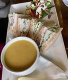 Овощной суп с сандвичем Стоковые Фото