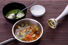 Овощной суп с pesto Стоковое Фото