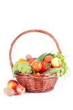 Овощ в корзине изолированной на белизне Стоковая Фотография RF