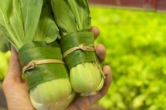 Овощ в оболочке в листьях банана стоковое изображение