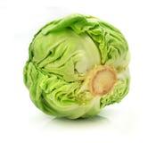 овощ капусты зеленой изолированный головкой Стоковое Изображение RF