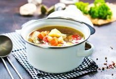 овощ супа макроса фокуса отмелый Стоковое Фото