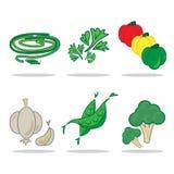 Овощ установленный c значка Стоковое Изображение