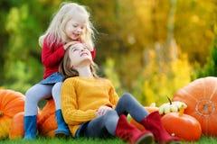 2 довольно маленьких сестры имея потеху совместно на заплате тыквы Стоковые Фотографии RF