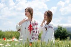 2 довольно молодых счастливых женщины в традиционном украинском платье в пшеничном поле Стоковое фото RF