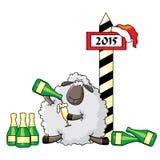 Овца празднует Новый Год Стоковые Изображения