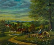 Овцы в луге цветка перед деревней иллюстрация штока
