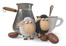 овцы иллюстрации 3d смешные с кофе Стоковое Изображение