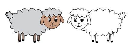 2 овцы, комплект, вектор, иллюстрация Стоковые Изображения