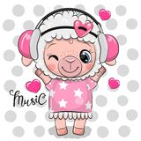 Овцы мультфильма в розовом платье и наушниках иллюстрация вектора