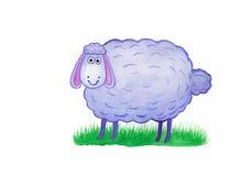 Овцы на картине акварели травы Стоковые Фотографии RF