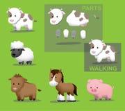 Овцы свиньи лошади скотин коровы скотного двора Стоковые Изображения