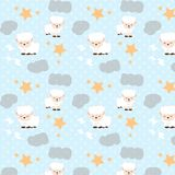 Овцы спать со звездами разбрасывают и заволакивают хорошую картину мечты иллюстрация штока