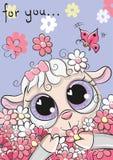Овцы с цветками на голубой предпосылке стоковые фотографии rf
