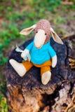 Овцы ткани handmade в голубой рубашке Стоковые Фотографии RF