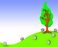 овцы фермы счастливые иллюстрация вектора