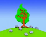 овцы фермы счастливые иллюстрация штока