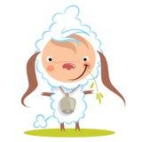 Овцы шаржа младенца смешные с большим колоколом пасут траву Стоковая Фотография