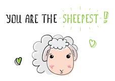 Овцы эскиза милые Иллюстрация на день валентинок Святого Стоковая Фотография