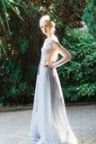 Оглушать портрет невесты в красивом платье свадьбы на естественной предпосылке стоковые фото