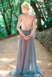 Оглушать портрет невесты в красивом платье свадьбы на естественной предпосылке стоковое изображение rf
