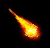 Огненный шар (файрбол) на черной предпосылке Стоковые Фото