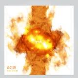Огонь вектора Флористическая предпосылка с дымом Стоковое Изображение