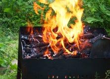 Огонь в барбекю, крупном плане стоковые изображения rf