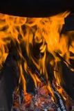 Огонь в камере плиты Стоковая Фотография