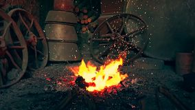 Огонь в печи в кузнице сток-видео