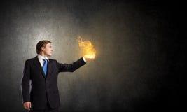 Огонь в руках Стоковые Изображения