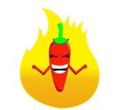 Огонь горячего chili шаржа вне ее тела стоковая фотография