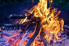 Огонь Горячие угли пламена стоковые фото