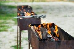 Огонь горя в 3 медниках Стоковое Изображение RF