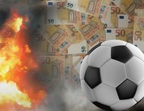 Огонь денег наличных денег чрезвычайного положения футбольного мяча пылает 3d-illustr бесплатная иллюстрация