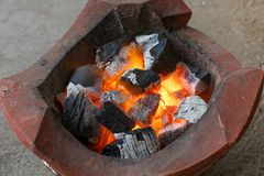Огонь детали крупного плана угля Стоковые Изображения RF