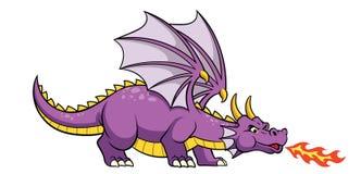 Огонь дракона мультфильма дыша иллюстрация вектора