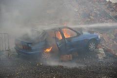 Огонь и взрыв автомобиля Стоковые Изображения RF