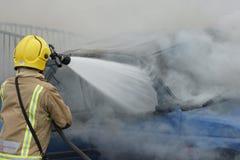 Огонь и взрыв автомобиля Стоковая Фотография RF